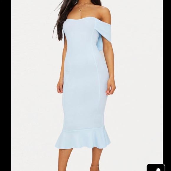 aca21bcf PrettyLittleThing Dresses | New Dusty Blue Bardot Frill Hem Midi ...